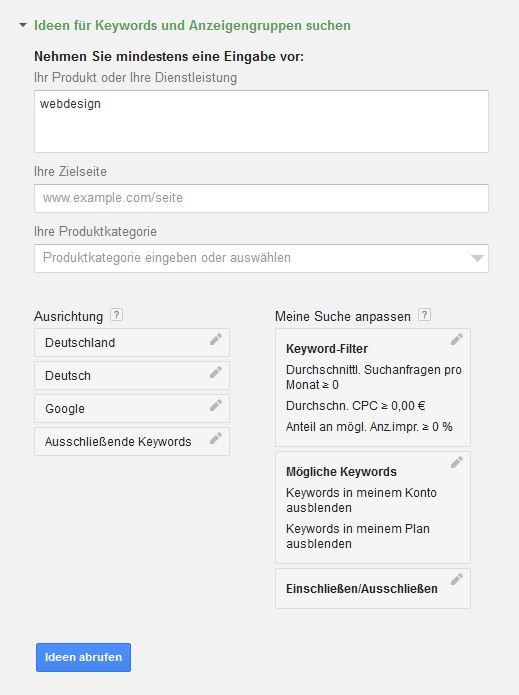 Google Keywordplaner 3