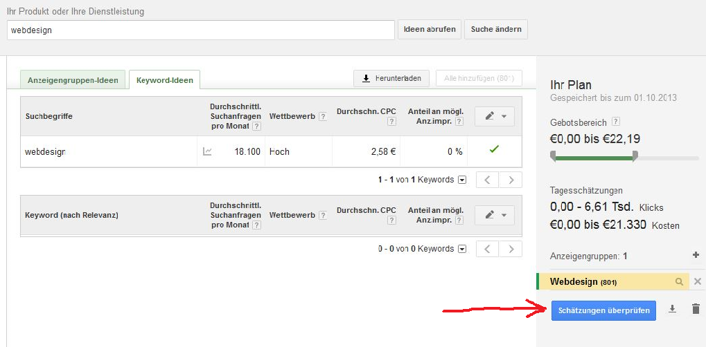 Testkampagne mit Google Keyword Planer
