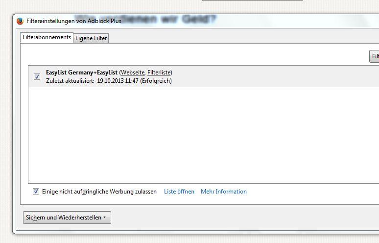 Filterliste AdBlock Plus